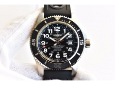 Replica Breitling SuperOcean II 44mm GF 1:1 Best Edition Black Dial on Black Rubber Strap A2824