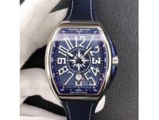 Replica Frank Muller Vanguard V45 SS ZF 1:1 Best Blue Textured Dial on Blue Rubber Strap MIYOTA 9015