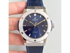 Replica Hublot Classic Fusion 42mm Titanium JJF 1:1 Best Edition Blue Dial on Blue Gummy Strap A2892