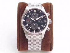Replica IWC Pilot Chrono IW377710 ZF 1:1 Best Edition Black Dial on SS Bracelet A7750 V2