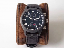 Replica IWC Pilot Chrono Top Gun IW389001 Real Ceramic ZF 1:1 Best Edition Black Dial on Black Calfskin Strap A7750