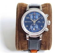 Replica IWC Da Vinci Chrono Laureus IW393402 SS ZF 1:1 Best Edition Blue Dial SS on Black Leather Strap A7750
