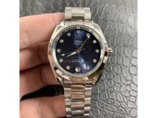 Replica OMEGA Aqua Terra 150M 34mm Ladies SS VSF 1:1 Best Edition Blue Dial Diamonds Markers on SS Bracelet A8800