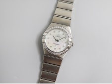 Replica OMEGA Constellation Ladies 27mm SS Diamond Bezel ETA Quartz 8848F 1:1 Best Edition
