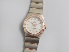 Replica OMEGA Constellation Ladies 27mm 2tone SS/Rose Gold Diamonds Bezel ETA Quartz 8848F 1:1 Best Edition