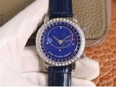 Replica Patek Philippe Grand Complications SkyMoon Celestial 6102P PPF V3 1:1 Best Diamond Bezel Blue Dial 240 Movt