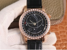 Replica Patek Philippe Grand Complications SkyMoon Celestial 6102P Rose Gold PPF V3 1:1 Best Diamond Bezel Black Dial 24