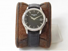 Replica Patek Philippe Calatrava 5227 SS ZF 1:1 Best Edition Black Dial on Black Leather Strap 324CS (Free box)