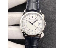 Replica Patek Philippe Calatrava 5296G SS ZF 1:1 Best Edition White Dial Blue Hands on Blue Leather Strap 324CS (Free bo