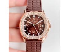 Replica Patek Philippe Aquanaut Luce Ladies 5068 JJF Rose Gold Diamonds Bezel Brown Dial A324 movt