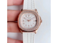 Replica Patek Philippe Aquanaut Luce Ladies 5068 JJF Rose Gold Diamonds Bezel White Dial A324 movt