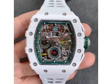 Replica Richard Mille RM011 Real White Ceramic Chronograph KVF 1:1 Best Skeleton Dial Green White Rubber Strap A7750