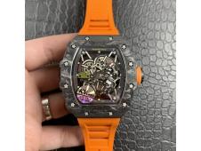 Replica Richard Mille RM035-02 Carbon KVF 1:1 Best Edition Skeleton Dial Orange Rubber Strap MIYOTA8215 V3