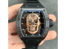 Replica Richard Mille RM052 Skull Black Ceramic ZF 1:1 Best Edition Rose Gold Skeleton Dial Black Rubber NH05A