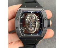 Replica Richard Mille RM052 Skull Black Ceramic ZF 1:1 Best Edition Black Skeleton Dial on Black Rubber Strap NH05A