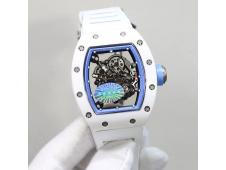 Replica Richard Mille RM055 Real White Ceramic KVF Best Edition Skeleton Dial Blue White Rubber Strap MIYOTA8215