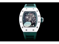 Replica Richard Mille RM055 Real White Ceramic KVF 1:1 Best Edition Skeleton Dial Green Rubber Strap MIYOTA8215