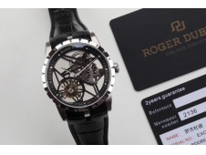 Replica Roger Dubuis Excalibur Rddbex0393 SS BBR V3 1:1 Best Edition Skeleton Dial Black Leather Strap A2136 Tourbillon