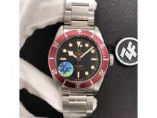 Replica Tudor Heritage 2016 Black Bay Shield Red Bezel ZF 1:1 Best Edition on SS Bracelet A2824