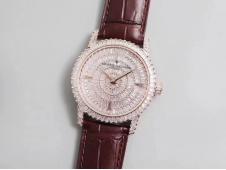 Replica Vacheron Constantin VC Traditionnelle DMF Rose Gold Diamond on Brown Leather Strap M9015