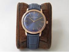 Replica Vacheron Constantin VC Patrimony Calatrava Rose Gold KZF Best Edition Blue Dial Blue Leather Strap MIYOTA 9015