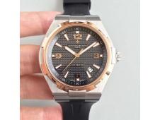 Replica Vacheron Constantin VC Overseas SS JJF 1:1 Best Black Textured Dial Rose Gold Bezel Black Rubber MIYOTA9015