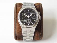 Replica Vacheron Constantin VC Overseas Dual Time Power Reserve TWA Best Edition Black Dial SS Bracelet A1222