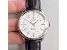 Replica Rolex Cellini Time 50509 SS MKF 1:1 Best Edition White Dial Roman Marker Black Leather Strap A3165 V3