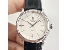 Replica Rolex Cellini Time 50509 SS MKF 1:1 Best Edition White Dial Sticks Marker Black Leather Strap A3165 V3