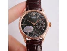 Replica Rolex Cellini Date 50515 Rose GOLD MKF 1:1 Best Edition Black Dial Brown Leather Strap A3165