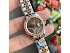 Replica Rolex Datejust 28MM 279171 Ladies WF Rose Gold/Steel Diamond Bezel Brown Dial Swiss ETA 2671 Watch