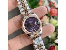 Replica Rolex Datejust 28MM 279171 Ladies WF Rose Gold/Steel Diamond Bezel Purple Dial Swiss ETA 2671 Watch