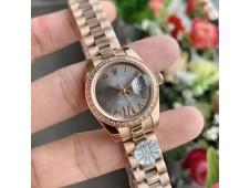 Replica Rolex Datejust 28MM 279135RBR Ladies WF Rose Gold Diamond Bezel Gray Dial Swiss ETA 2671 Watch