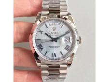 Replica Rolex DayDate 40 228206 Noob 1:1 Best Edition Quadrant Textured Ice Blue Dial President Bracelet A3255