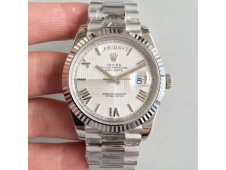 Replica Rolex Day-Date 40 228239 Noob 1:1 Best Edition Quadrant Textured Silver Dial President Bracelet A3255