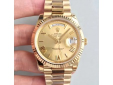 Replica Rolex Day-Date 40 228238 Yellow GOLD Noob 1:1 Best Edition YG Roman Dial YG President Bracelet A3255