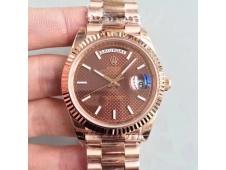 Replica Rolex DayDate 40 228235 Rose GOLD Noob 1:1 Best Edition Brown Textured Dial RG President Bracelet A3255