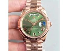 Replica Rolex Day-Date 40 228235 Rose GOLD Noob 1:1 Best Edition Green Roman Dial RG President Bracelet A3255