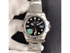 Replica Rolex Explorer II 42mm 216570 JF 1:1 Best Edition Black Dial on SS Bracelet A2836 V3