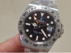 Replica Rolex Explorer II 42mm 216570 904L SS GMF 1:1 Best Black Dial A3187 Correct Hand Stack