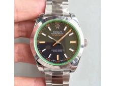 Replica Rolex Milgauss 116400 GV ARF 1:1 Green Sapphire Black Dial on SS Bracelet A2824