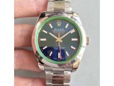 Replica Rolex Milgauss 116400 GV ARF 1:1 Green Sapphire Blue Dial on SS Bracelet A2824