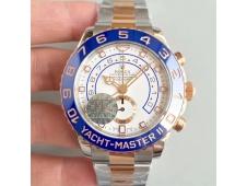 Replica Rolex YachtMaster II 116681 2tone Rose Gold Steel Blue Ceramic JF 1:1 Best Edition A7750
