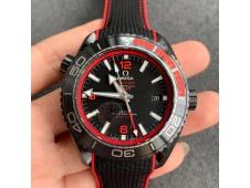 Replica OMEGA Planet Ocean 45.5mm Deep Black Red Real Ceramic VSF 1:1 Best Nylon Strap A8906 Super Clone