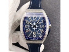 Replica Frank Muller Vanguard V45 SS Full Diamonds ZF 1:1 Best Blue Dial Rubber Strap MIYOTA 9015