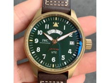 Replica IWC Pilot UTC Spitfire MJ271 Bronze ZF 1:1 Best Green Dial on Brown Leather Strap A2836