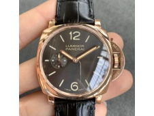 Replica Panerai PAM677 Luminor Due 3 Days Acciaio Rose Gold XF 1:1 Best Black Leather Strap P1000