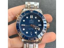 Replica OMEGA 2018 Seamaster Diver 300M SS/Rose Gold VSF 1:1 Best Blue Dial on Bracelet A8800