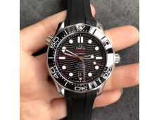 Replica OMEGA 2018 Seamaster Diver 300M VSF 1:1 Best Black Dial on Rubber Strap A8800 V2 (Black Balance Wheel)