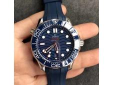 Replica OMEGA 2018 Seamaster Diver 300M VSF 1:1 Best Blue Dial on Rubber Strap A8800 V2 (Black Balance Wheel)